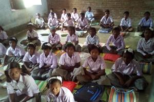 Desks for a school in Godda